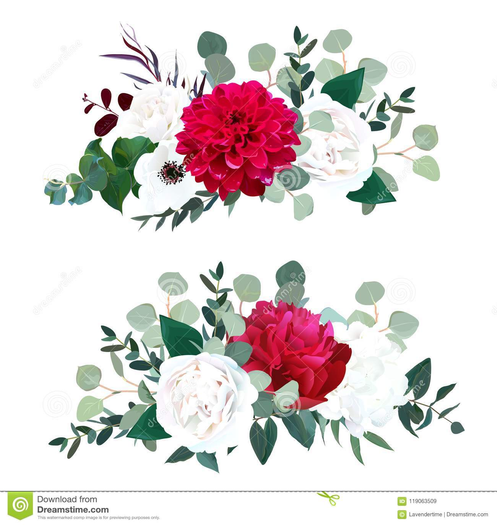 Red Dahlia, Burgundy Peony, White Rose, Hydrangea, Anemone Stock ...