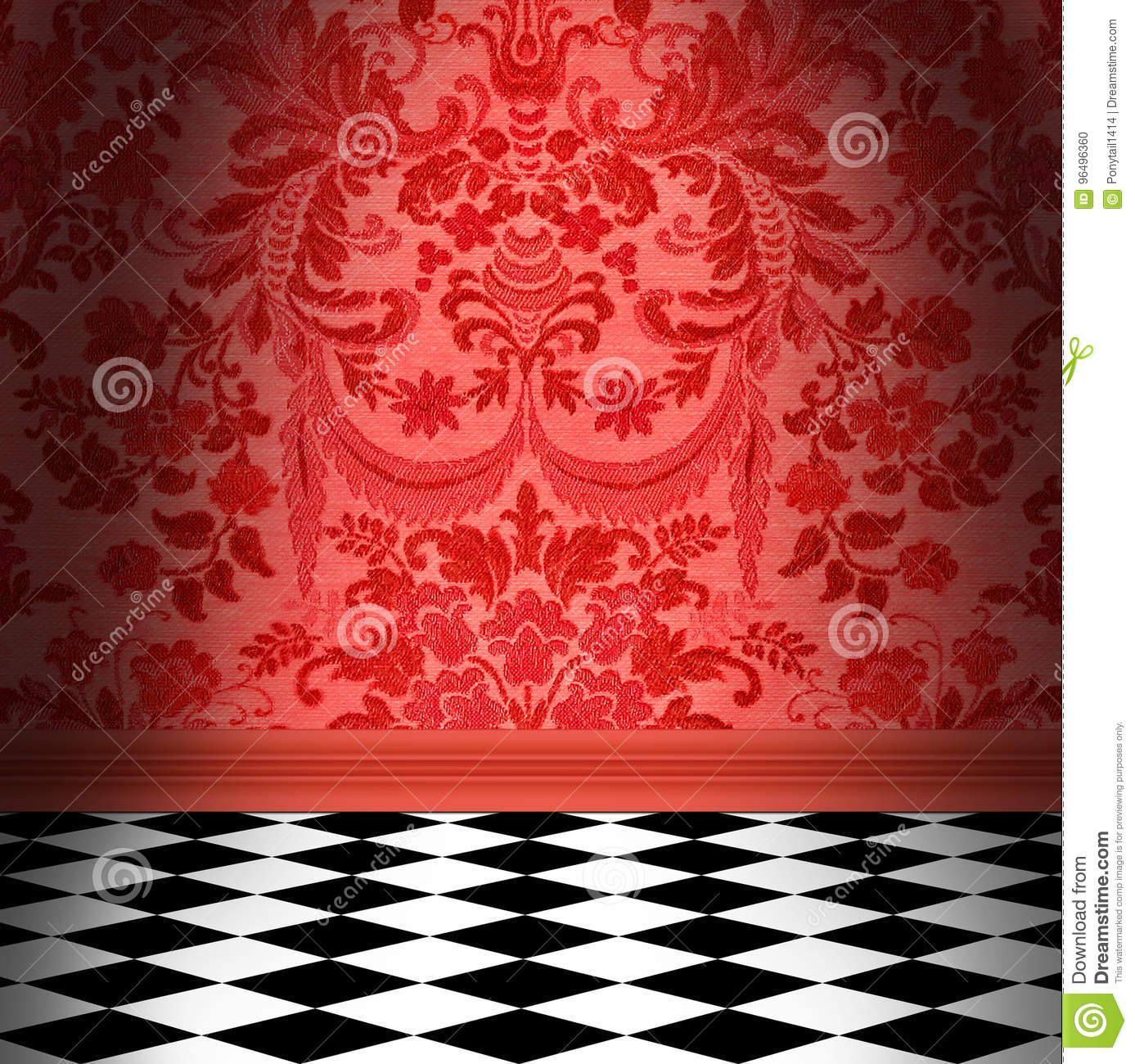 Red Damask Wallpaper With Black & White Checkerboard Tile Floor