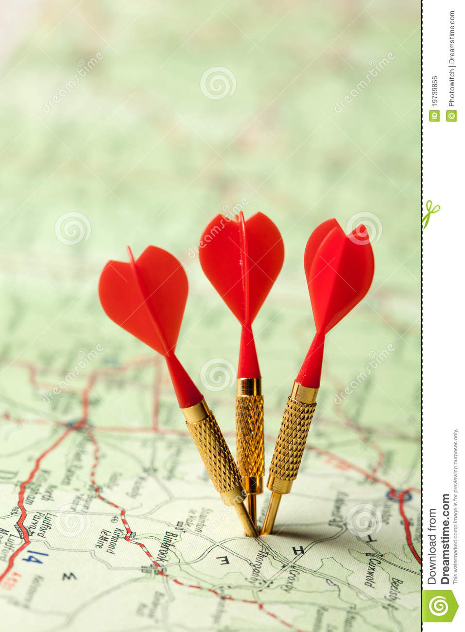 Red darts in a road map stock photo. Image of mapping - 19739856 on
