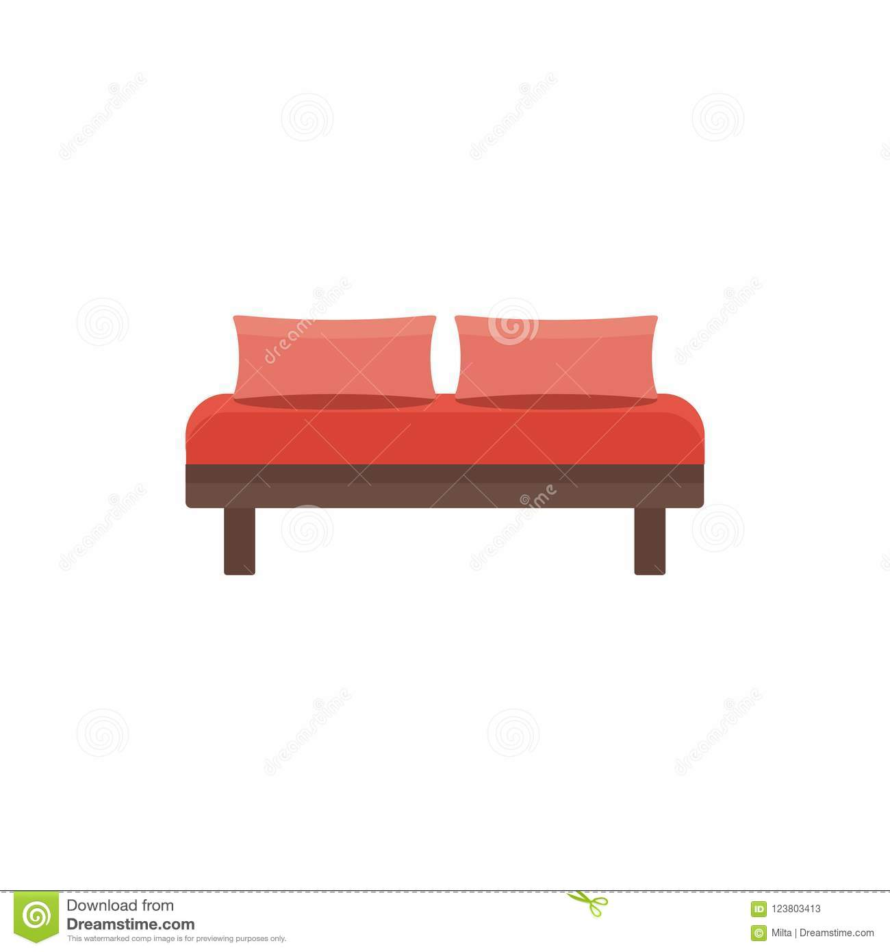 Download Red Daybed With 2 Pillows. Comfortable Sofa. Vector Illustration  Stock Vector   Illustration