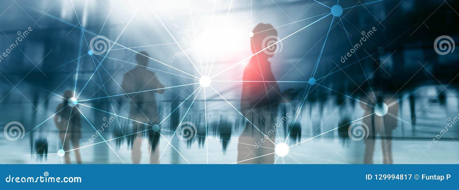 Red de Blockchain en fondo borroso de los rascacielos Concepto financiero de la tecnología y de la comunicación