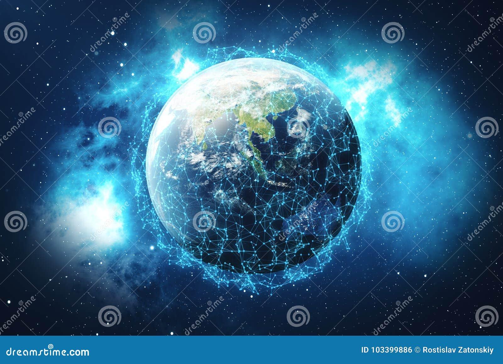 Red de la representación 3D y de intercambio de datos sobre la tierra del planeta en espacio Líneas de la conexión alrededor del