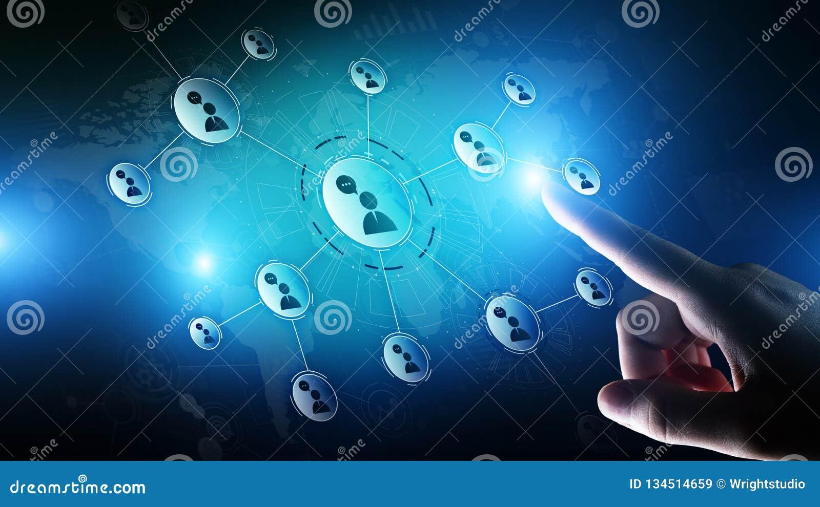 Red de las relaciones de la gente en la pantalla virtual Comunicación del cliente y concepto social de los medios
