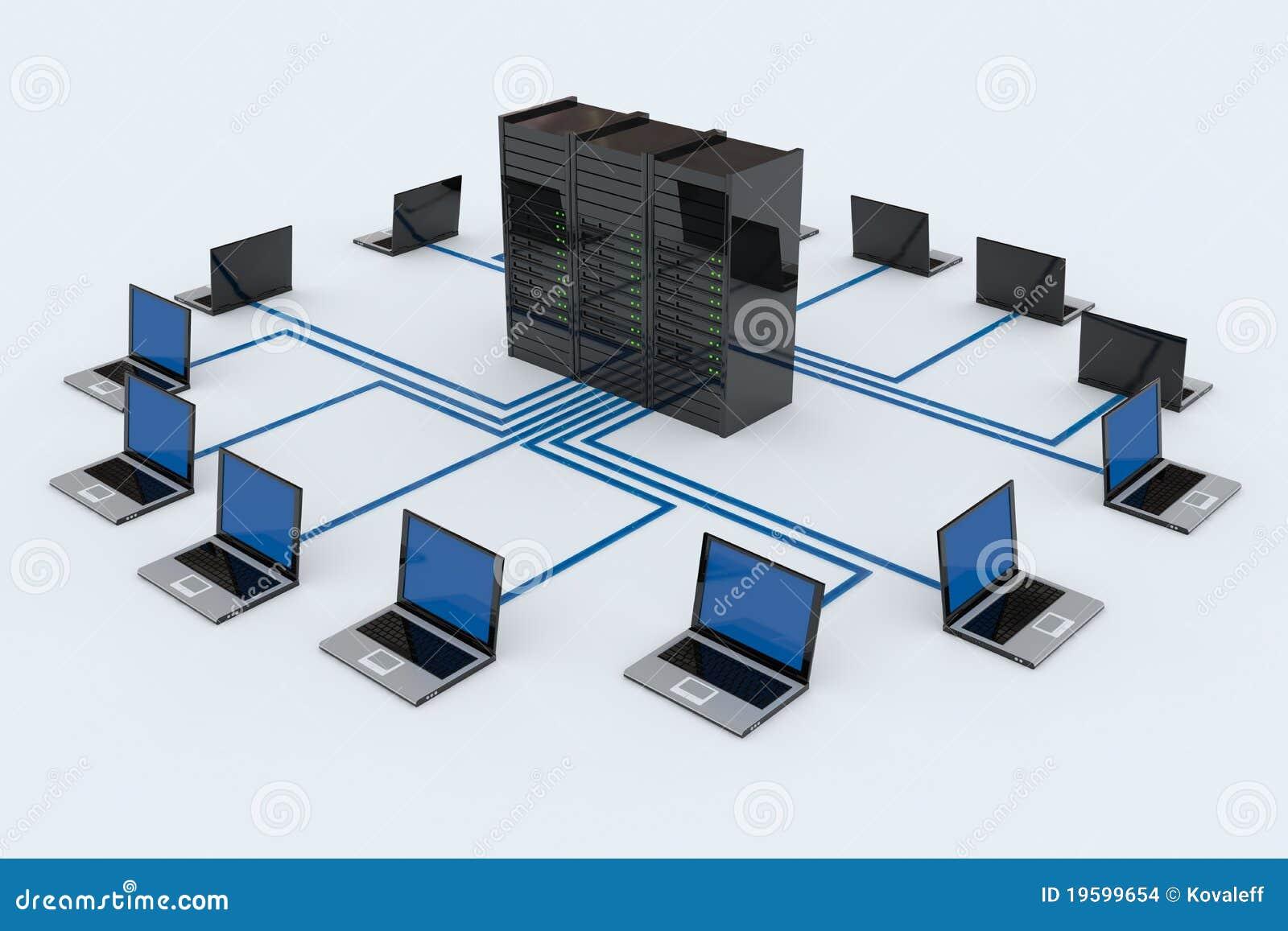 Red de ordenadores con el servidor stock de ilustraci n - Fotos de ordenadores ...