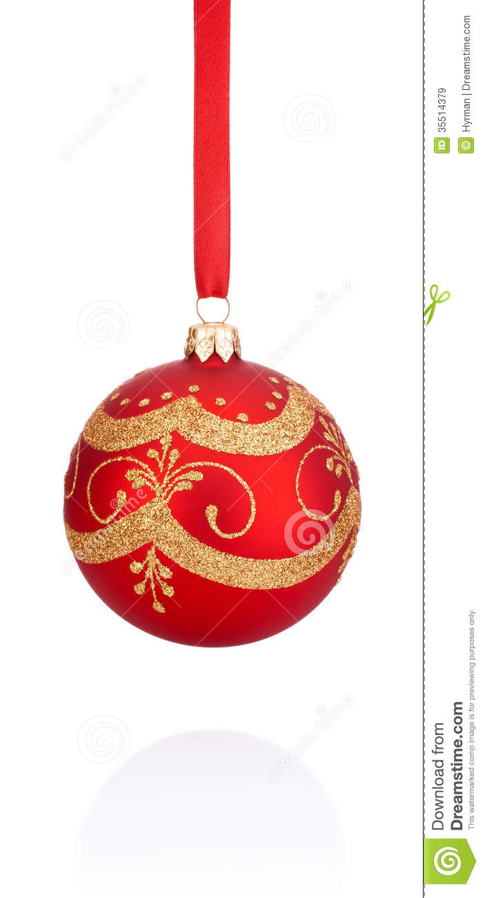 Red decorations christmas ball hanging on ribbon stock image image 35514379 - Hanging christmas ornaments ...