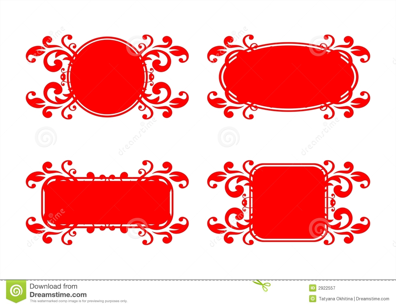 red decorative frames