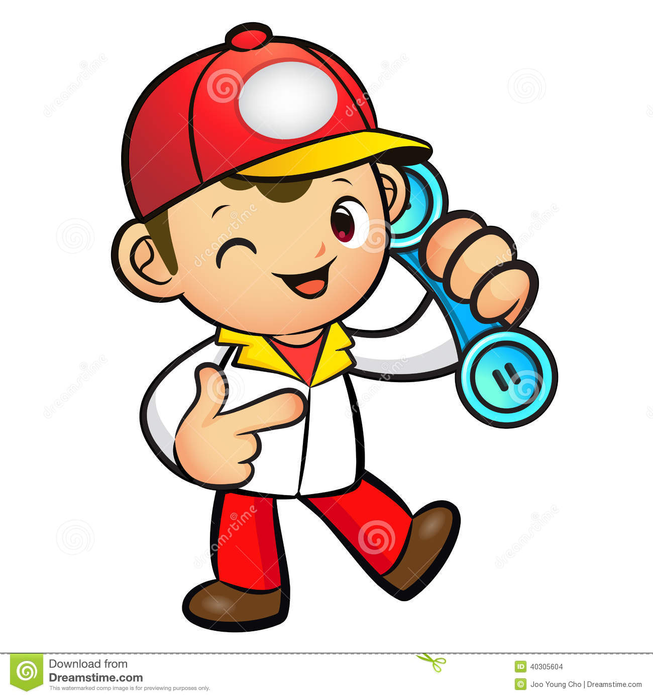 Stock Images: Red Delivery Man Mascot To answer a phone call orders ...