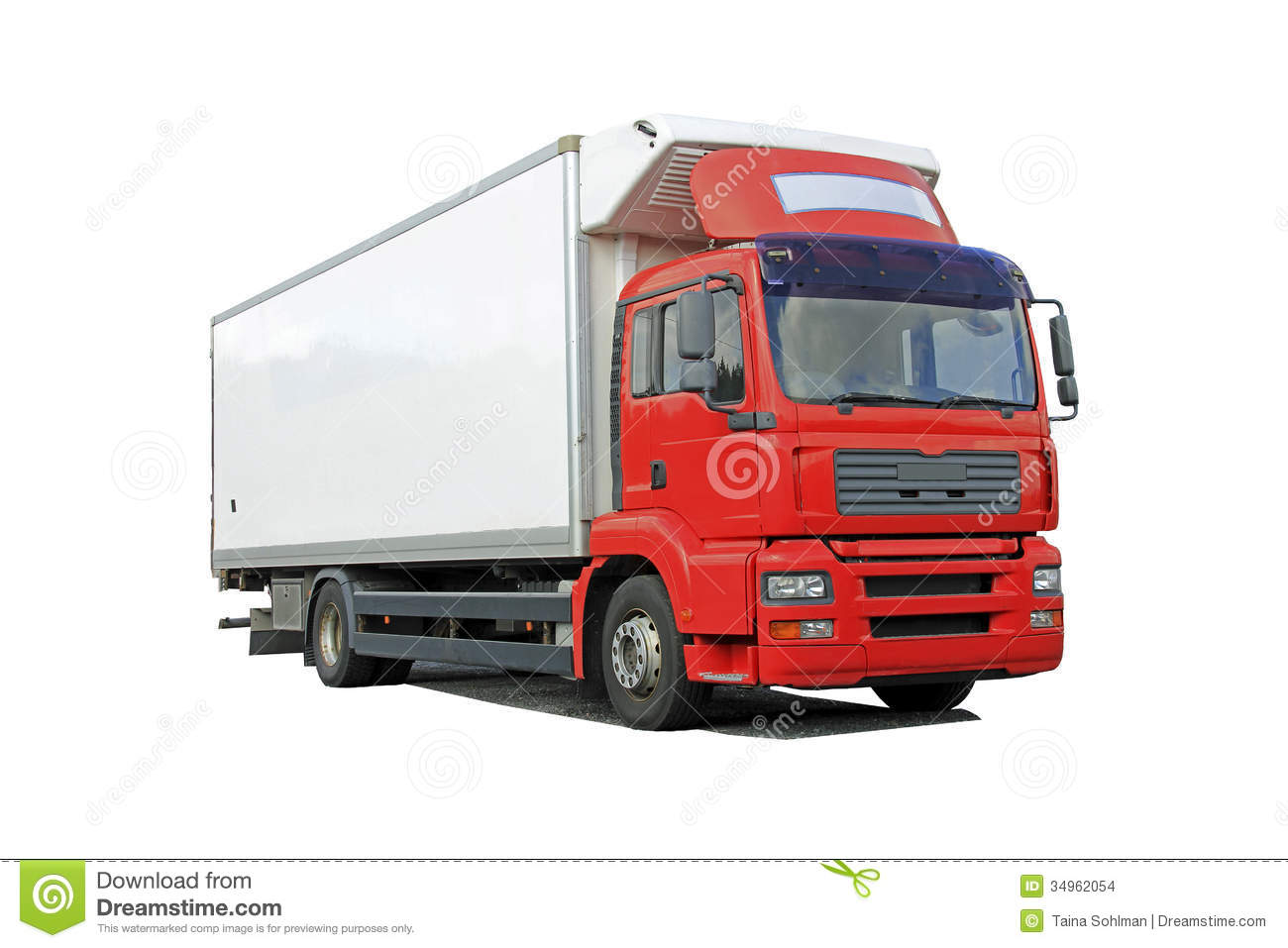 Red Delivery Truck Isolated Over White Stock Images - Image: 34962054
