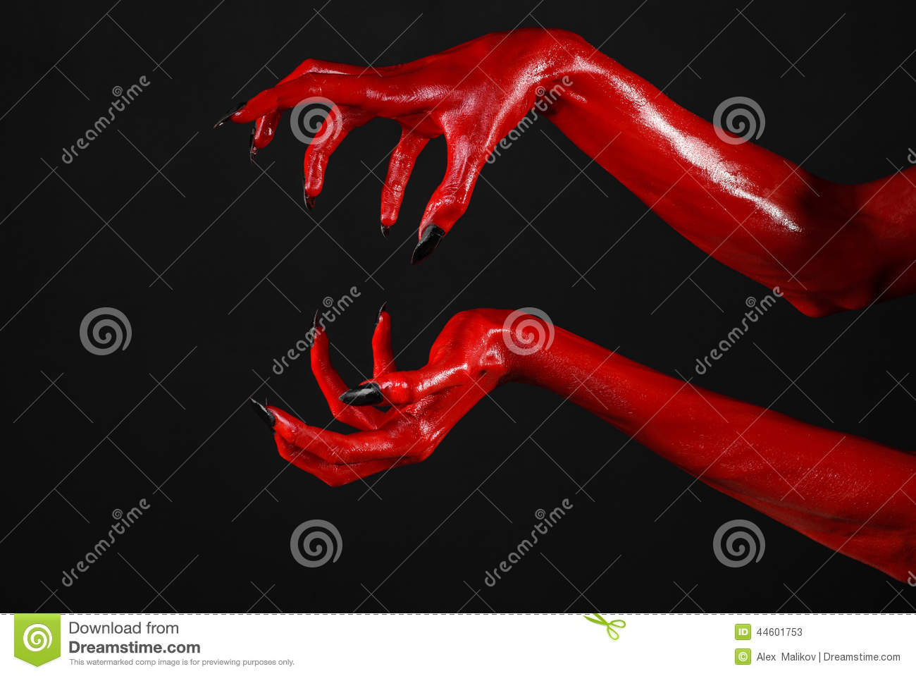 red devil u0026 39 s hands with black nails  red hands of satan  halloween theme  on a black background