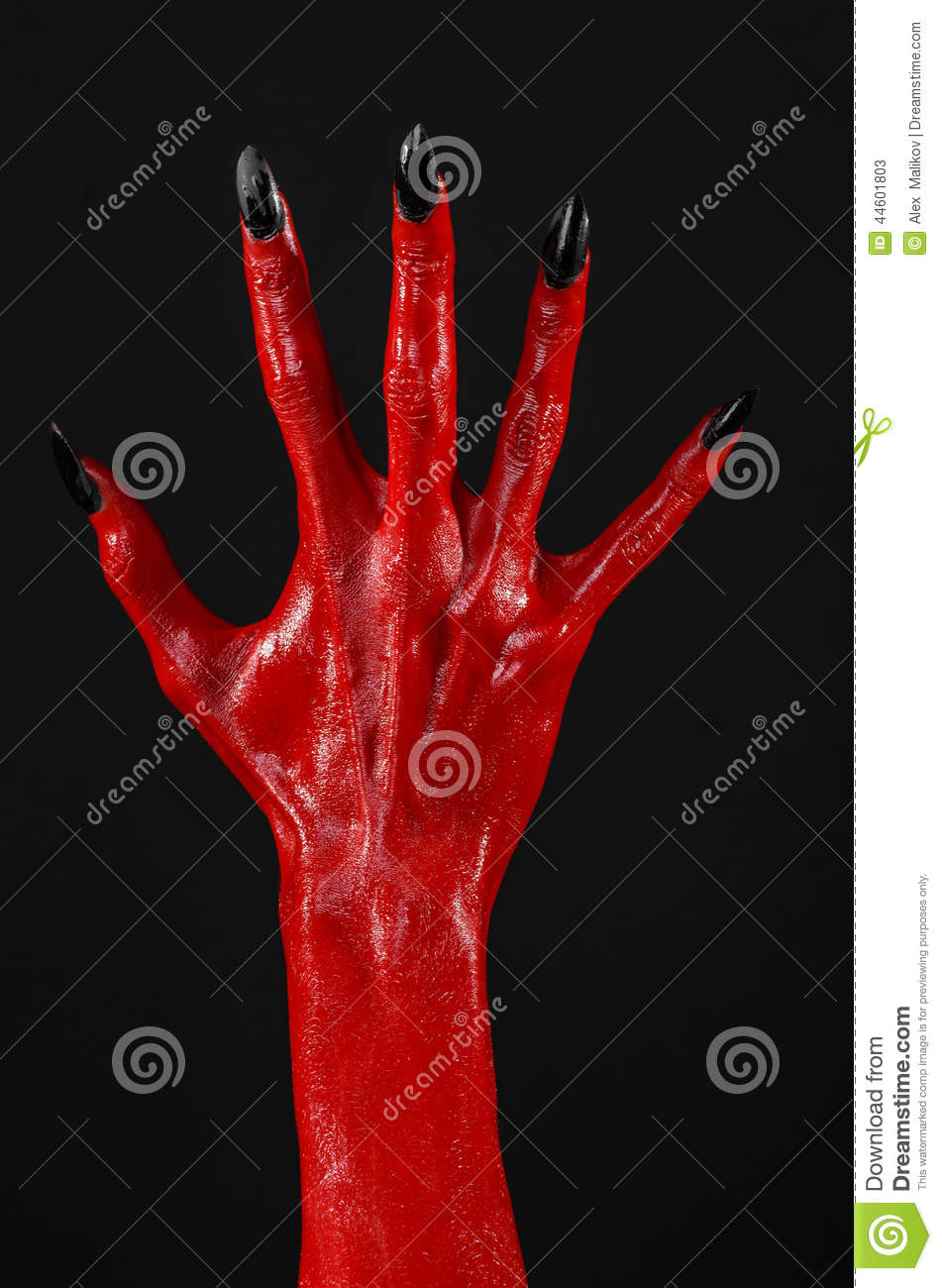 Red devils hands with black nails red hands of satan halloween red devil s hands with black nails red hands of satan halloween theme on a black background isolated lucifer horror biocorpaavc Gallery