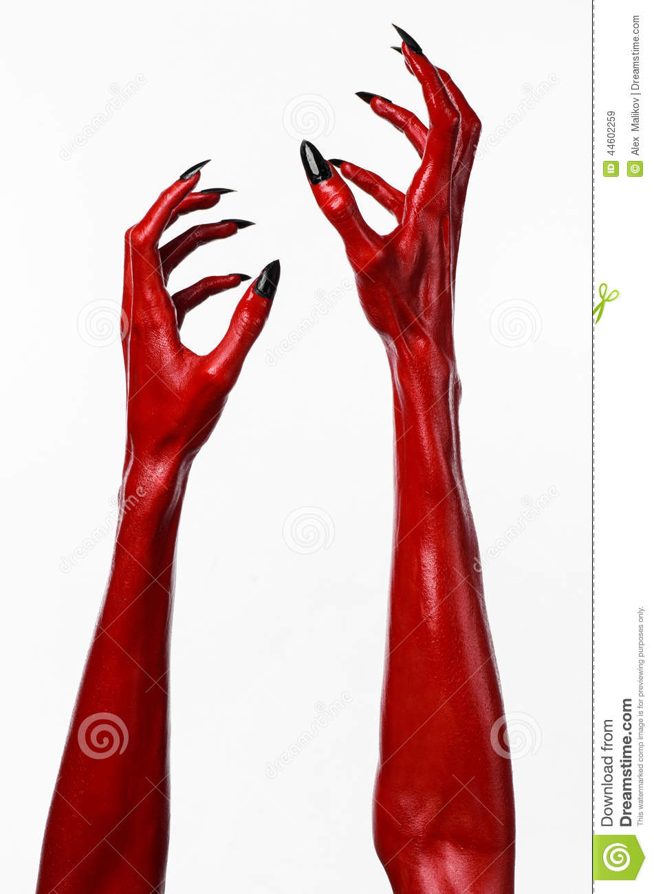 red devil s hands with black nails red hands of satan halloween