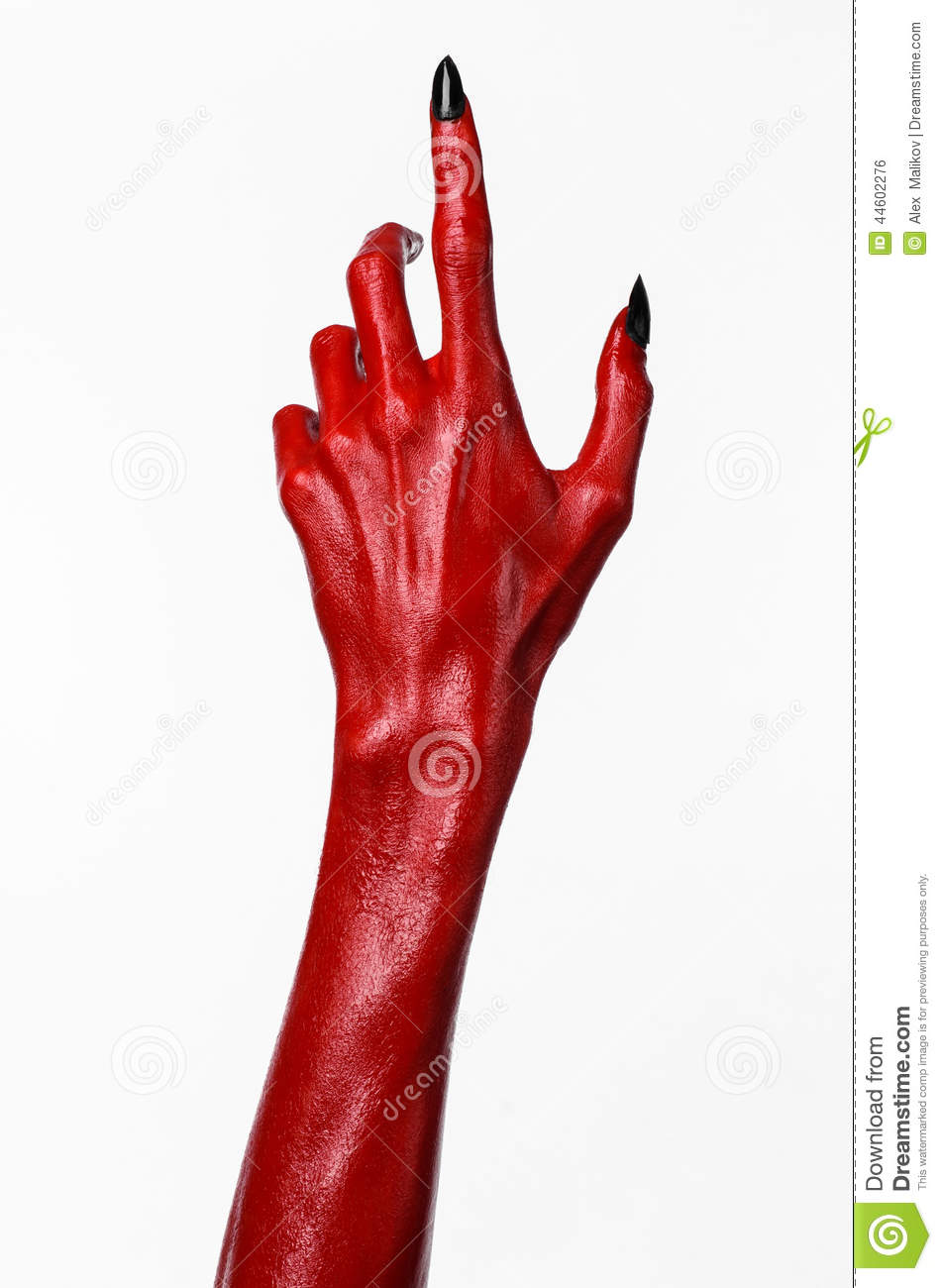 red devil u0026 39 s hands with black nails  red hands of satan  halloween theme  on a white background