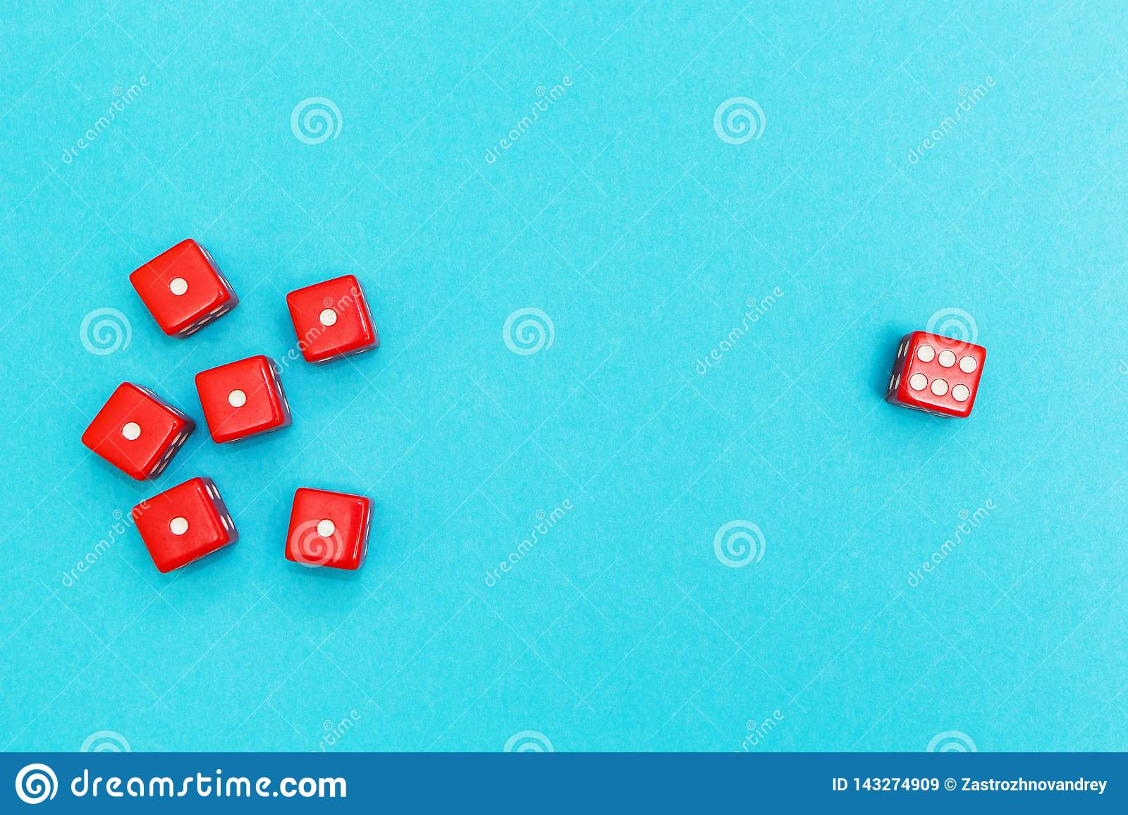 Red dice on a blue background, success and failure