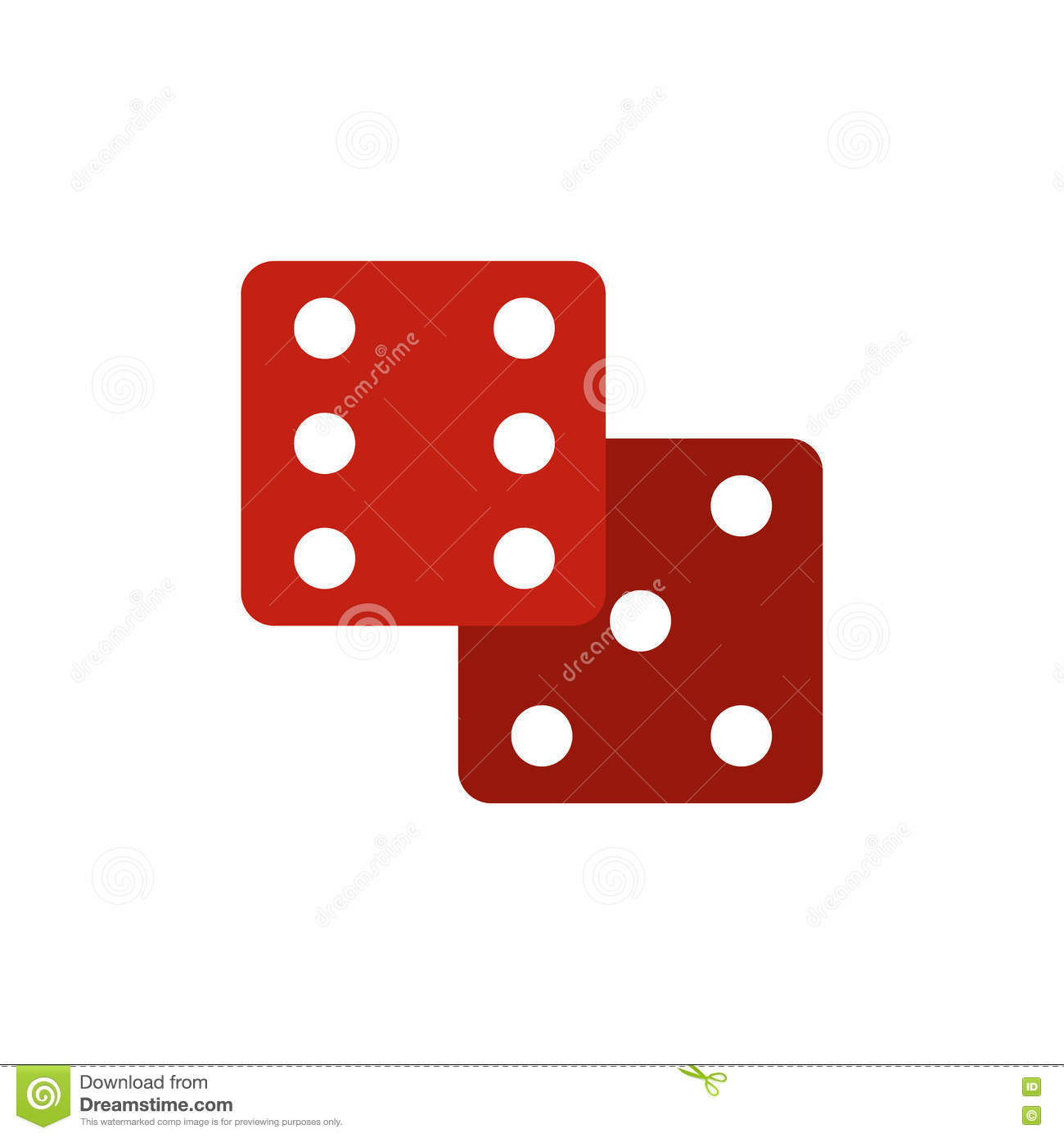 Red dice flat icon