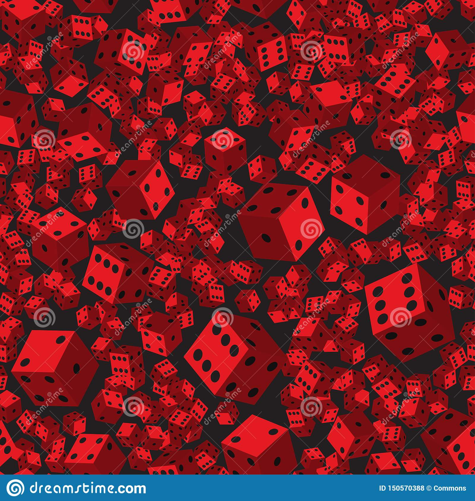 Red Dice Seamless Pattern, 3D illustration