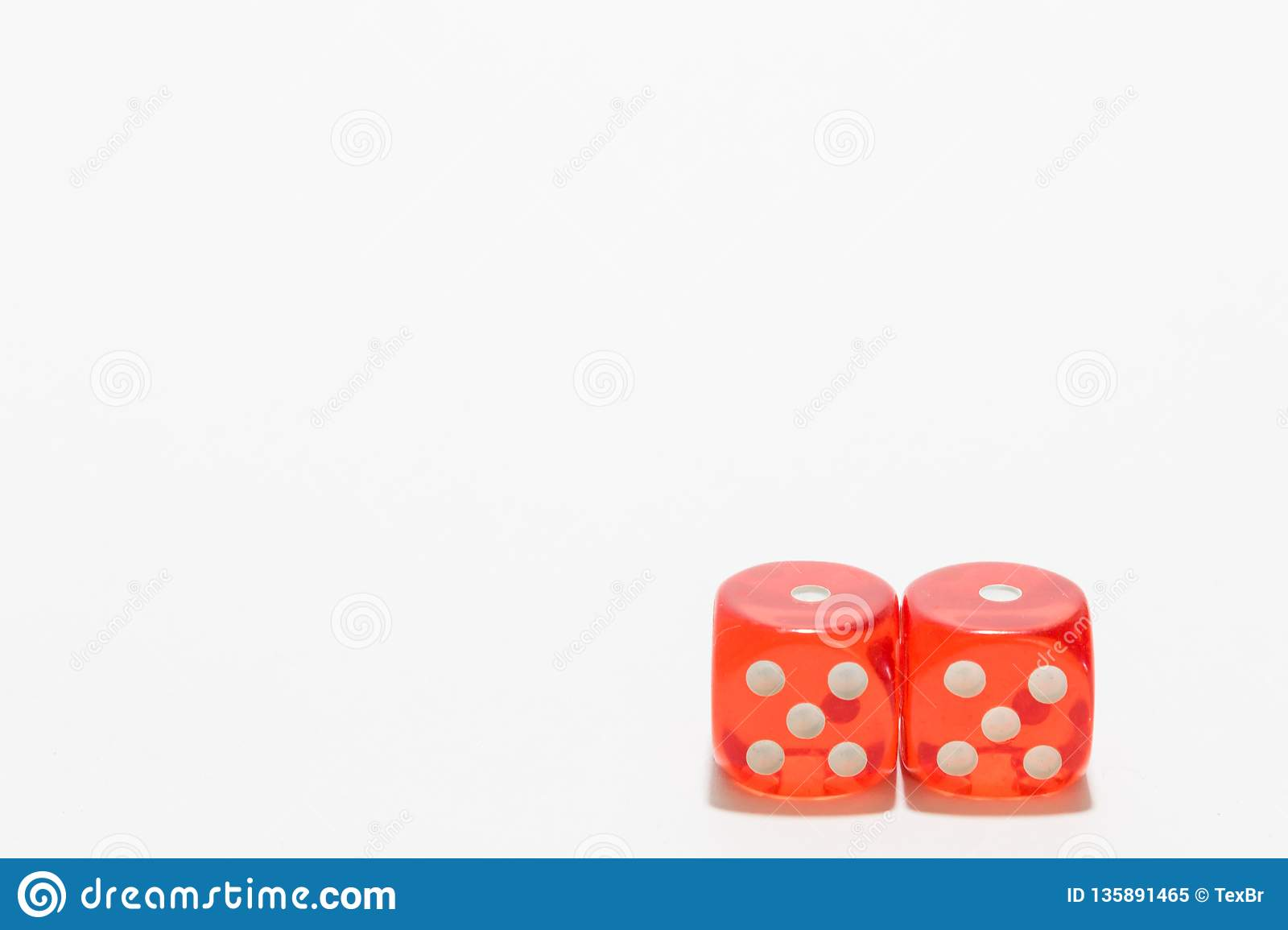 Red dice, typical gambling. With white background and copy space