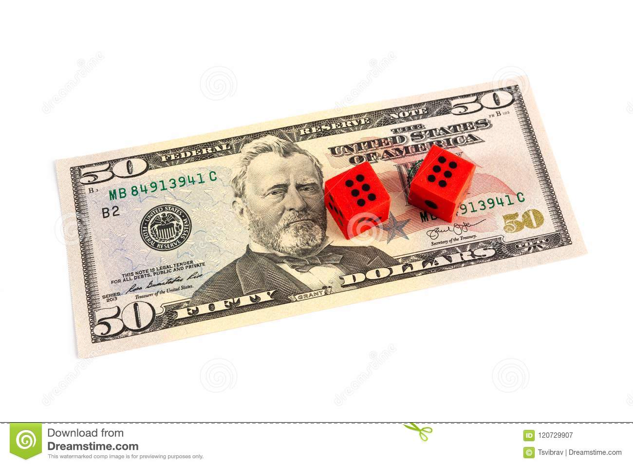Red dice on 50 US dollar bill.