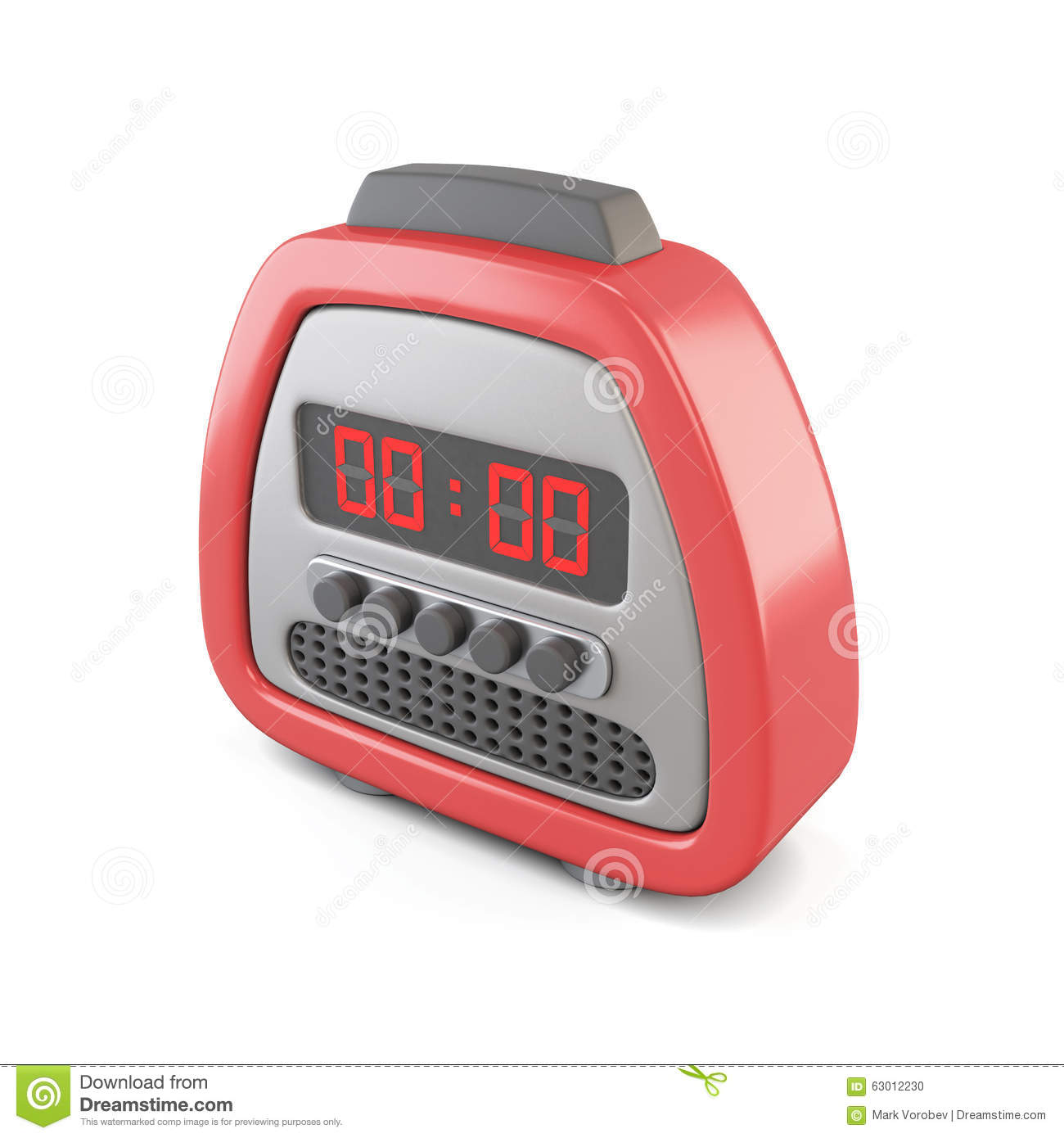 Red Digital Alarm Clock  3d Illustration  Stock Illustration