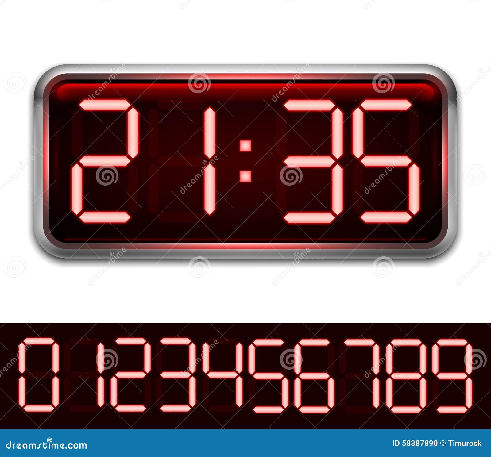Red Digital Clock Stock Vector Illustration Of Concept