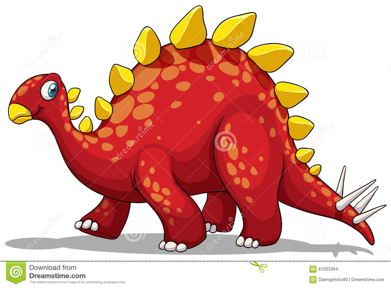 Red Dinosaur With Spikes Tail Stock Illustration - Image: 61023364