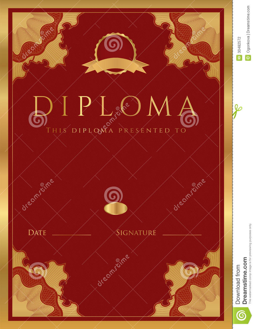 red diploma    certificate background with border stock