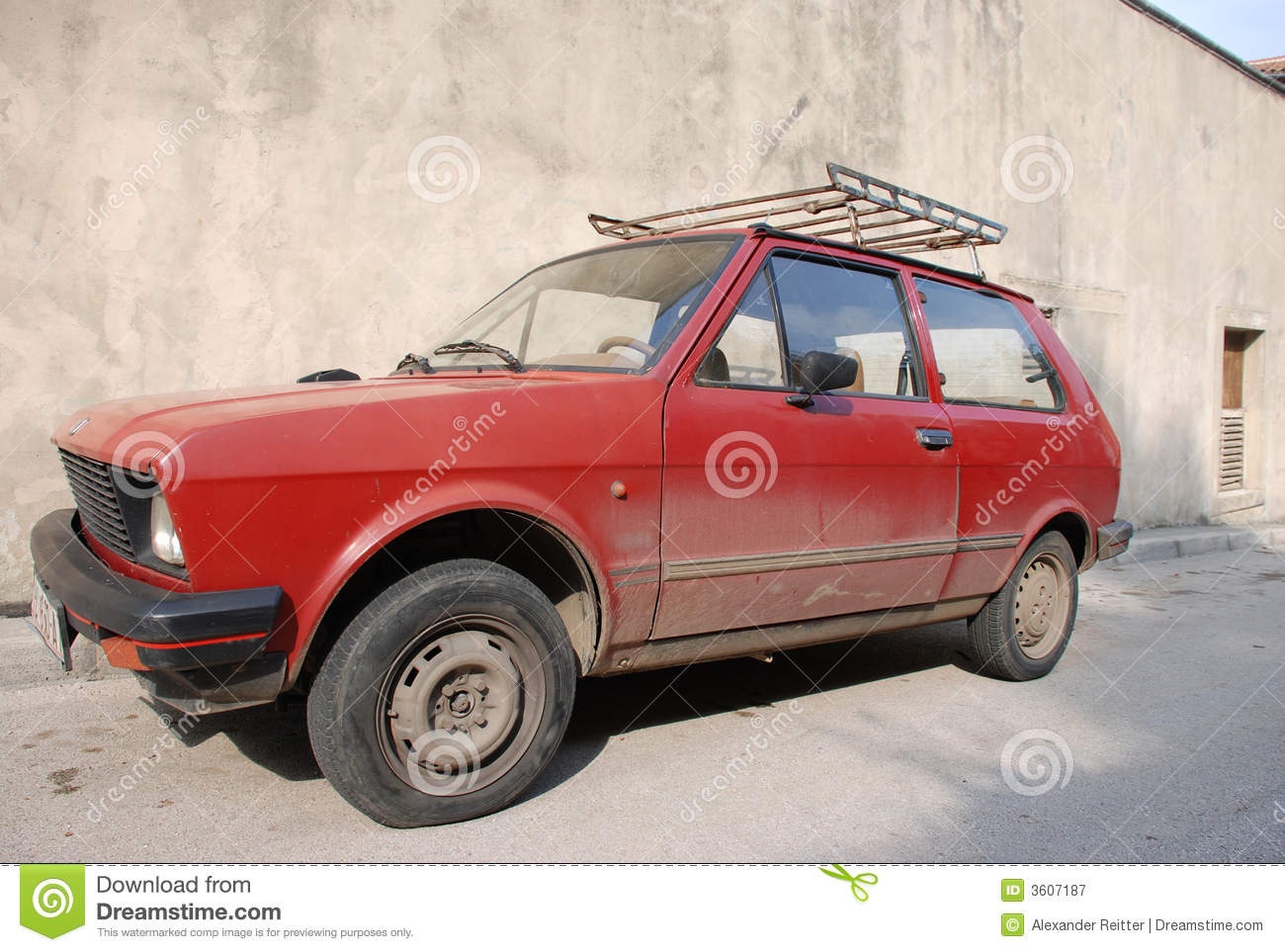 Red dirty old car stock image. Image of roof, dirty, wheels - 3607187