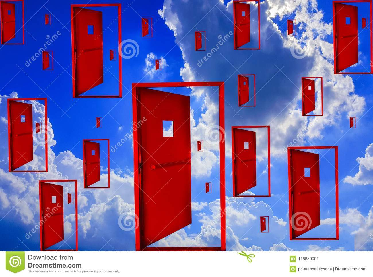 Red Door Floating In The Air