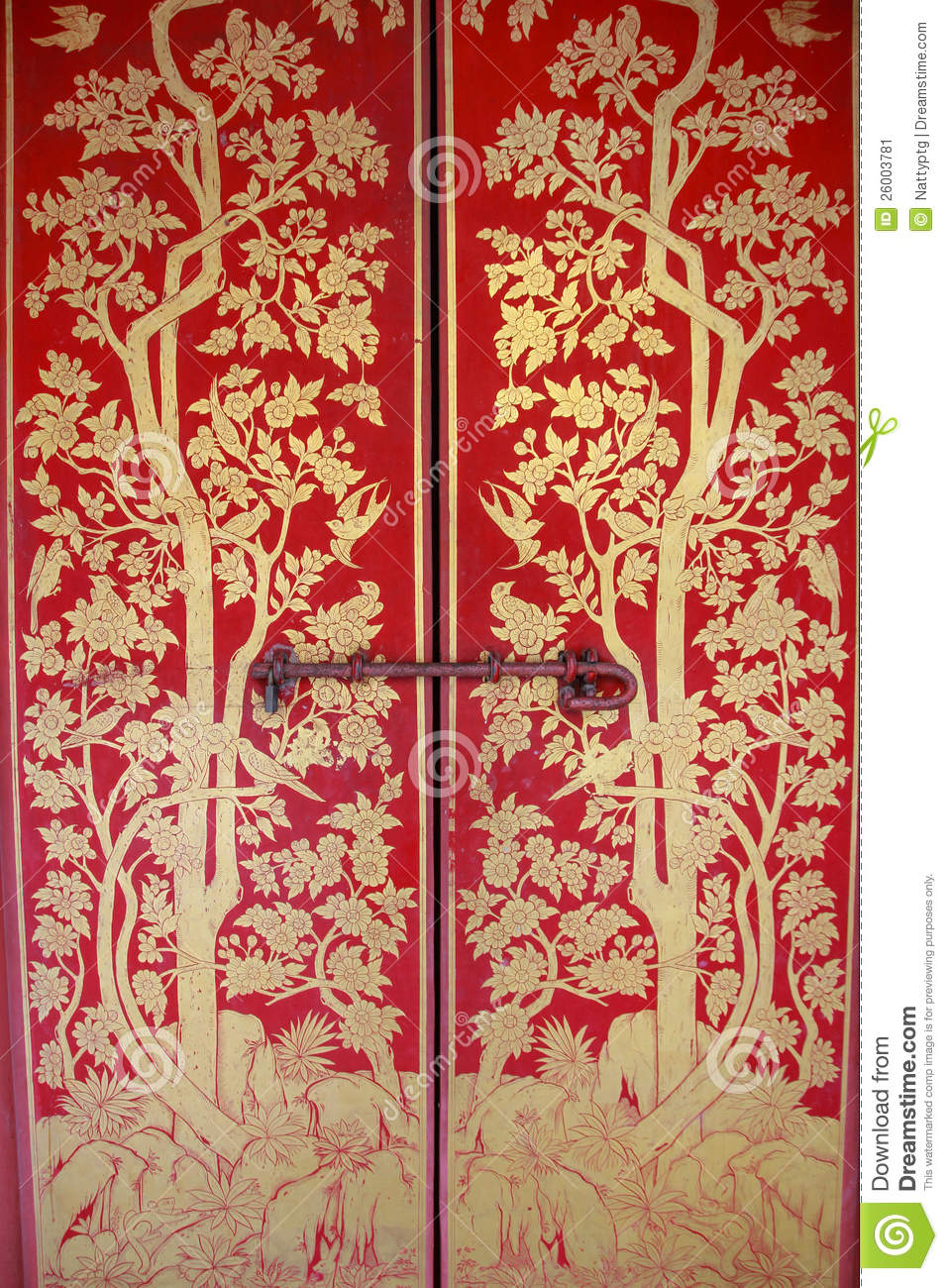 Red Door With Gold Painting Stock Image - Image: 26003781