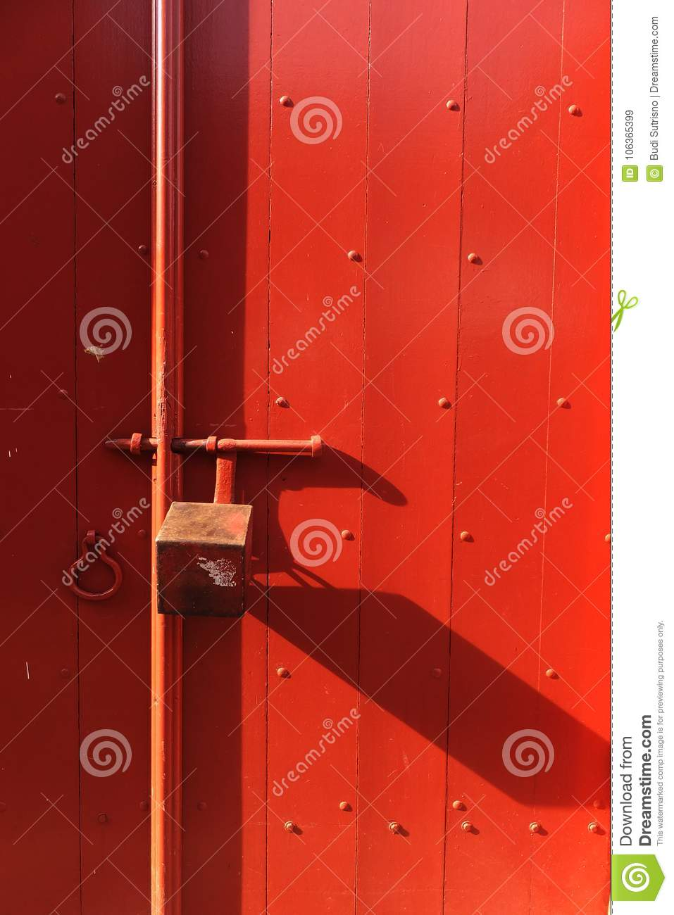 A Red Door Locked The Beauty Of The Old Design Stock Image Image
