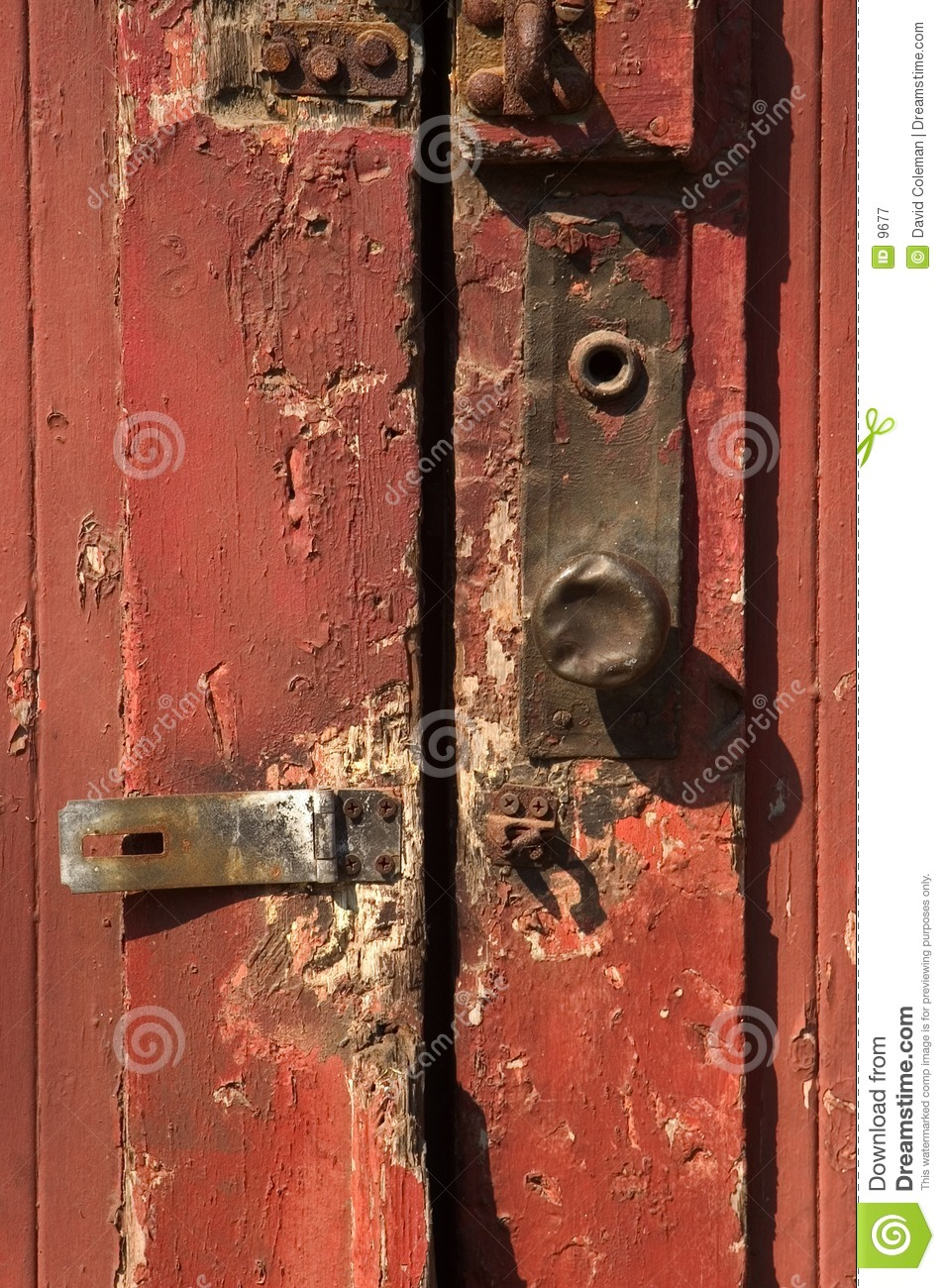 Red door with metal door knob