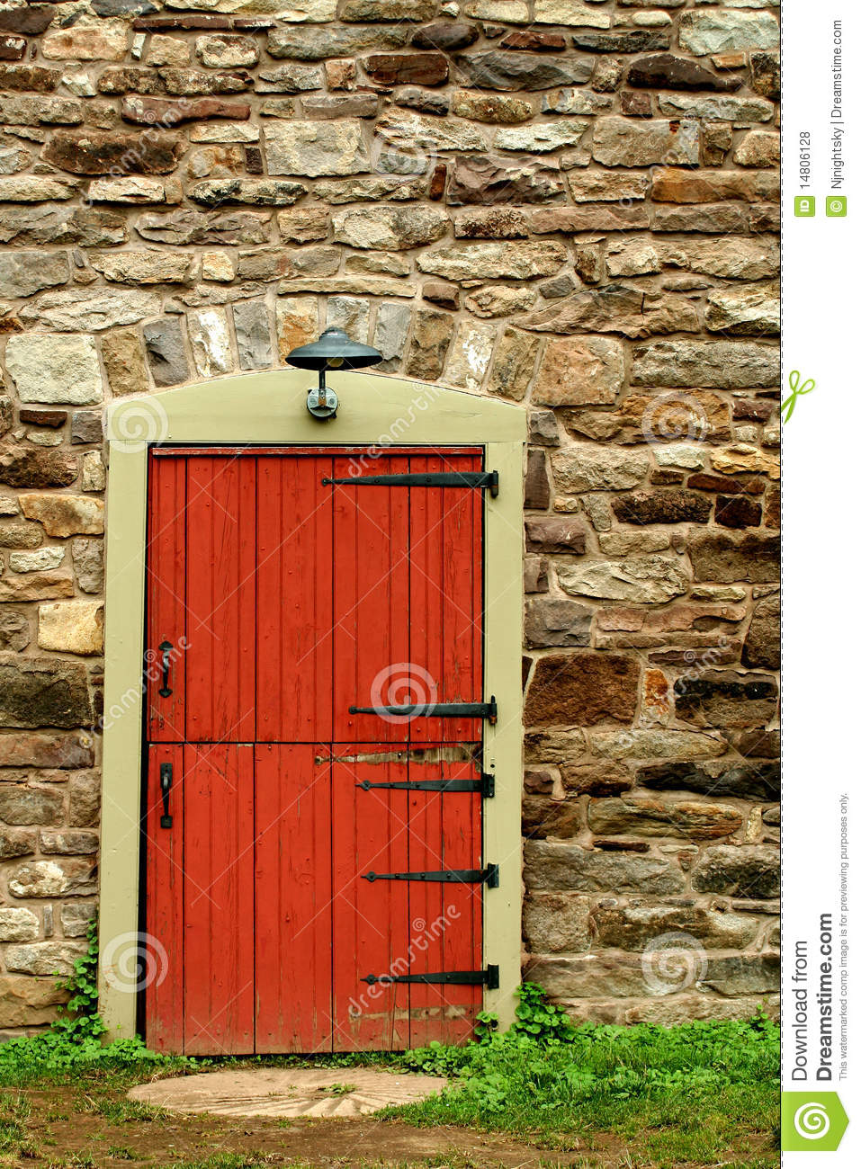 Red Doors Stone : Red door on a old stone building royalty free stock photos