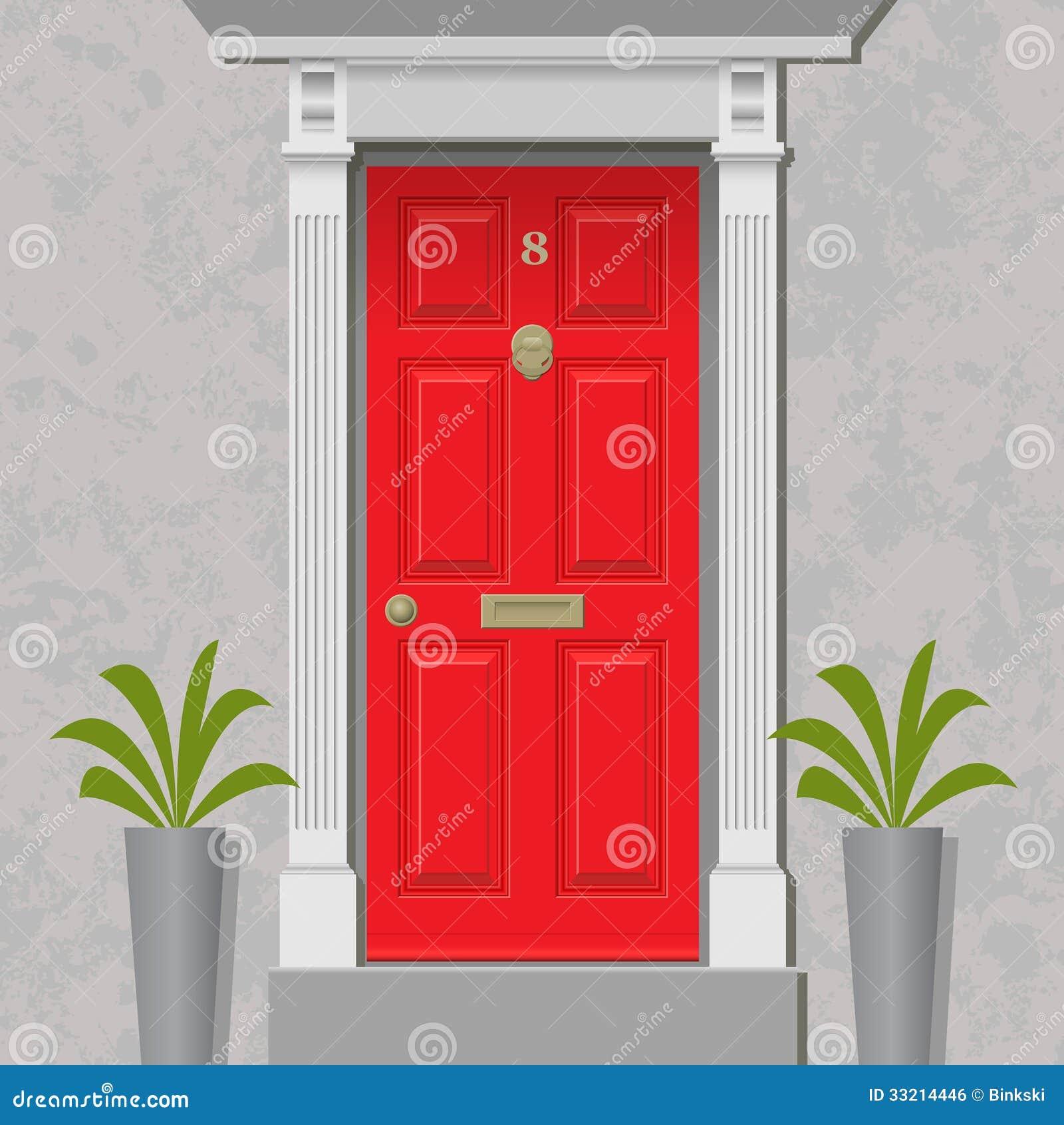 red door stock vector  illustration of knocker  vintage