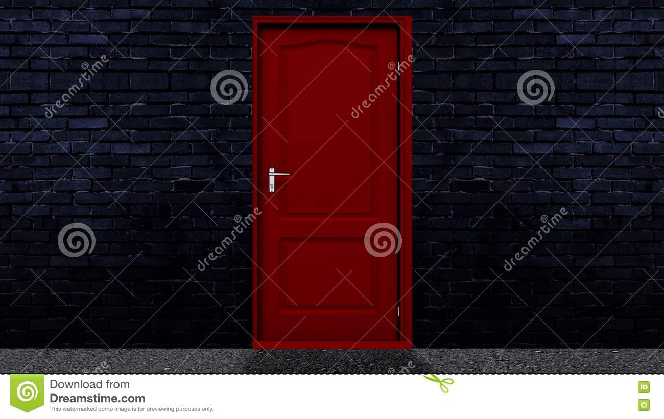 Red Door Open And Transition To A Green Screen Background