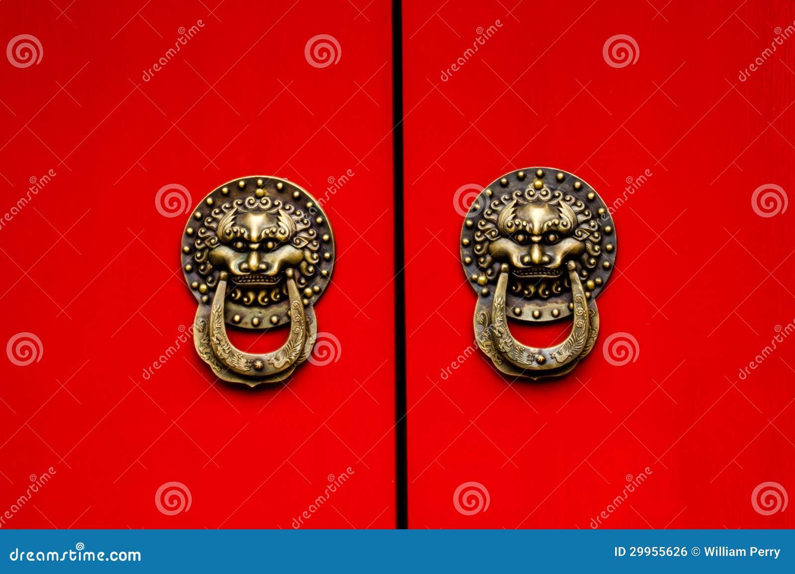 Red Door Ornate Dragon Brass Knockers Houhai Lake Beijing, China