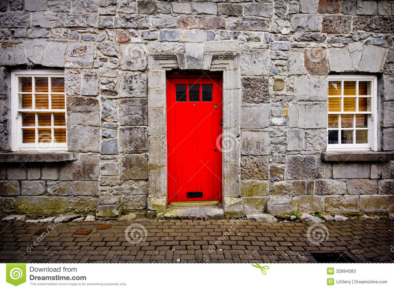Red Doors Stone : Red door stone house stock image of bright