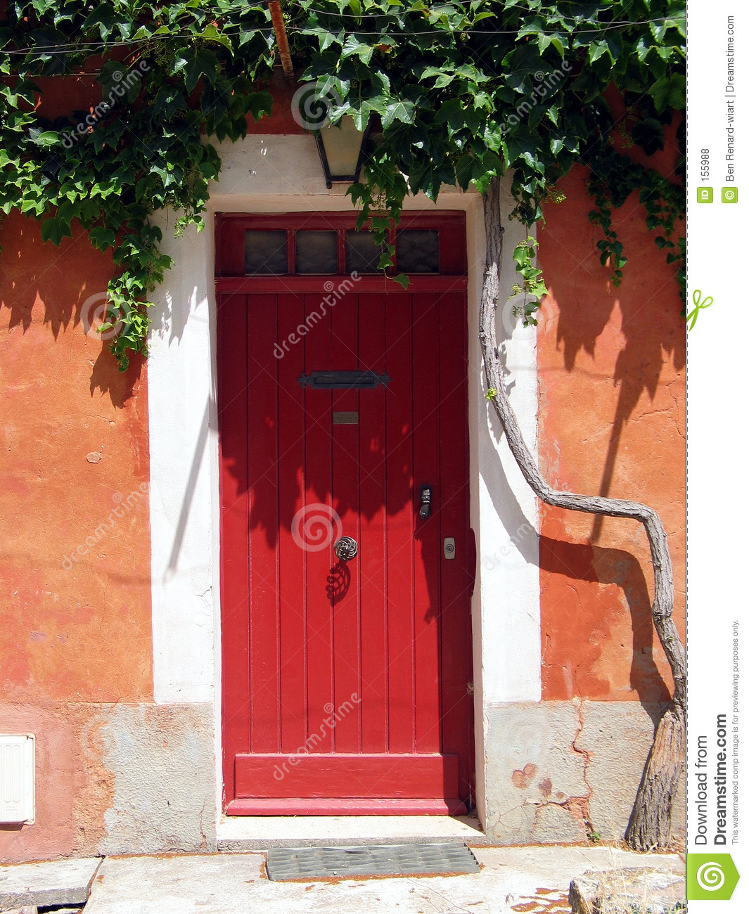 Red door in Tuscany. Italy