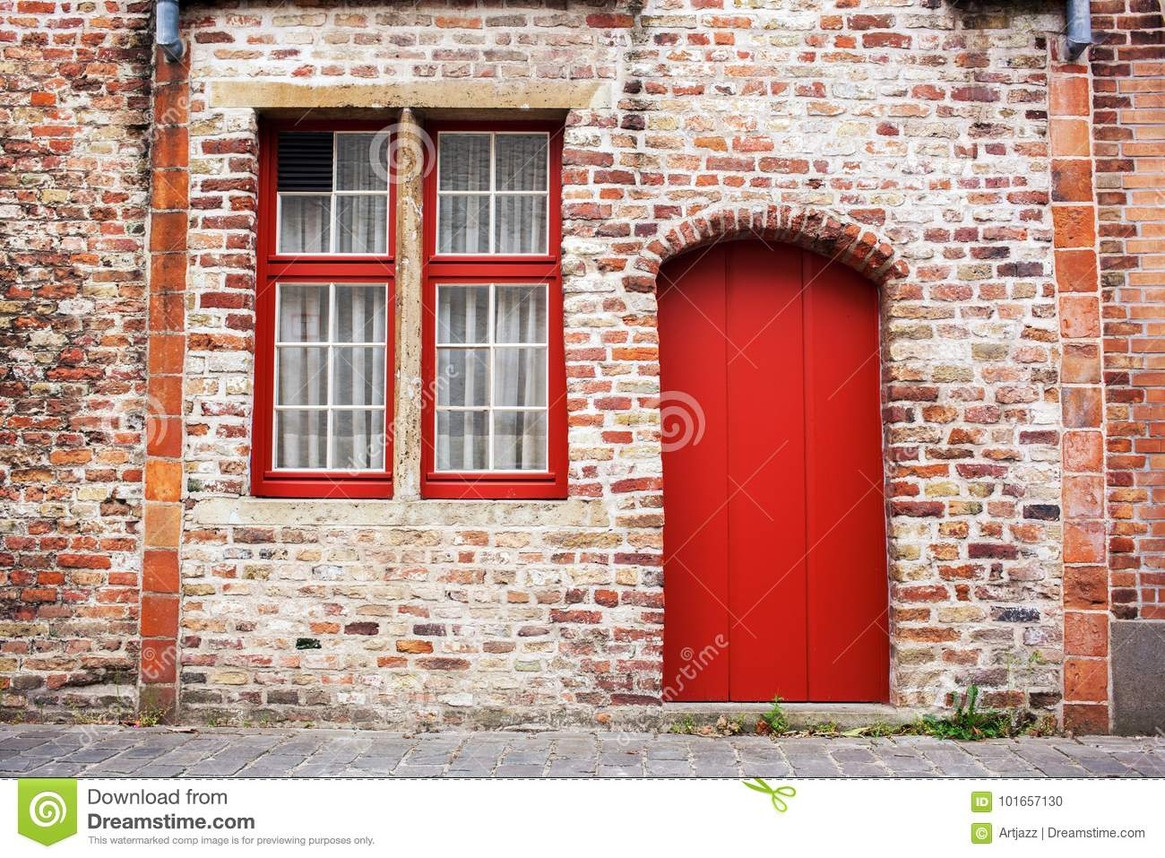 Red Doors Stone : Red door and window stock photo image of reflection