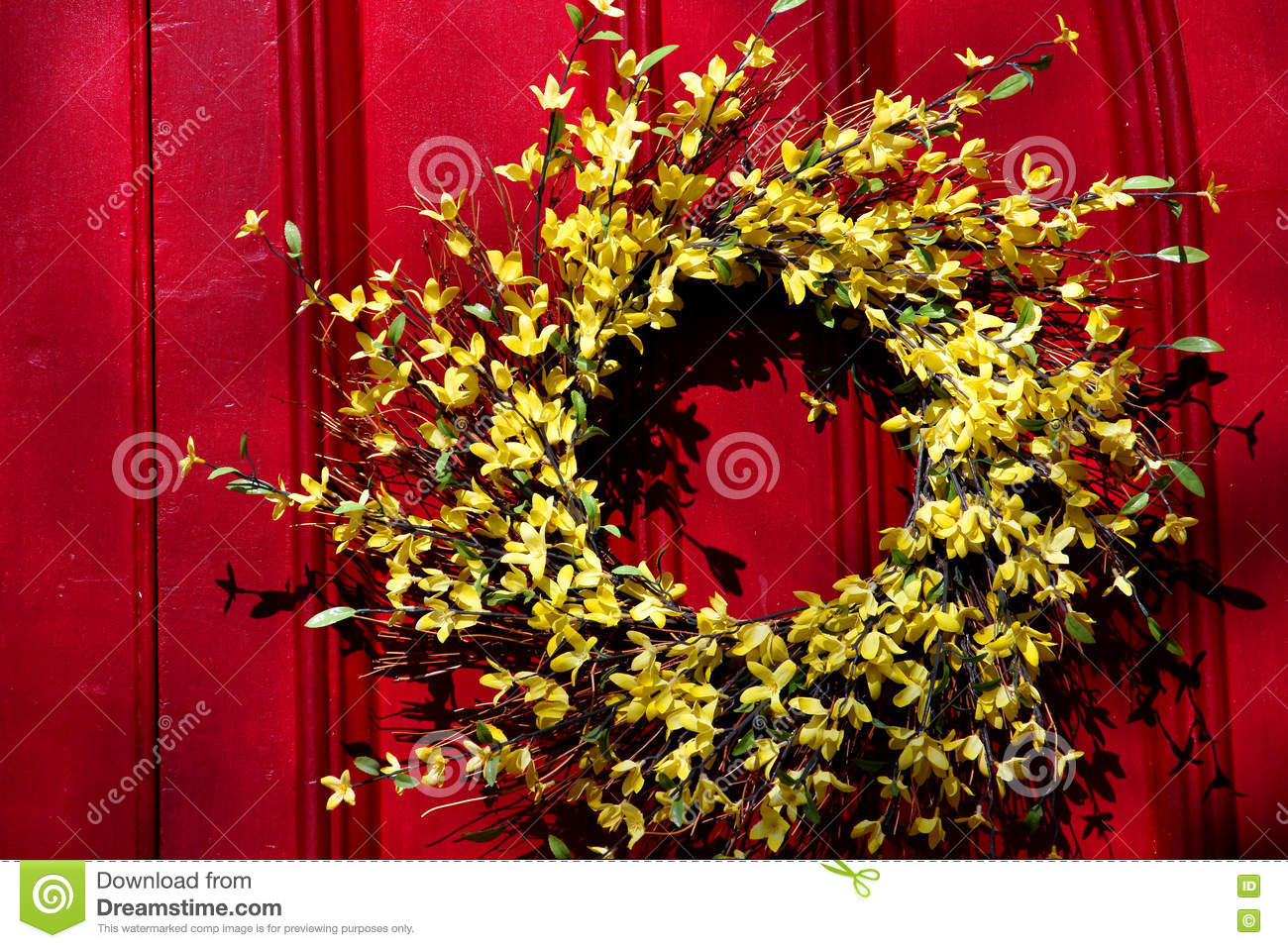 Red Door With Yellow Wreath Stock Image Image Of Yellow Paint