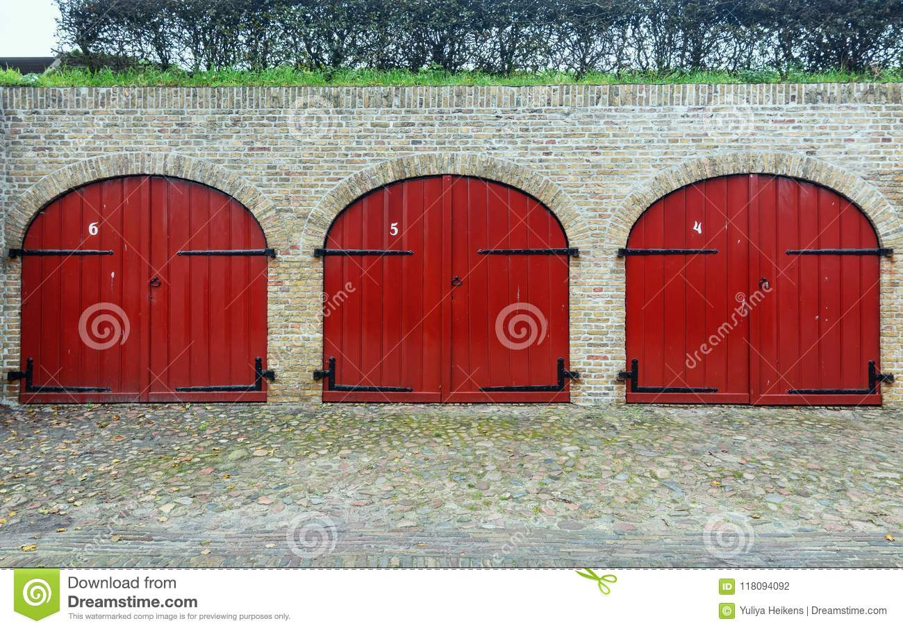 The Red Doors Of The Former Depots Of Bourtange A Dutch Fortifi