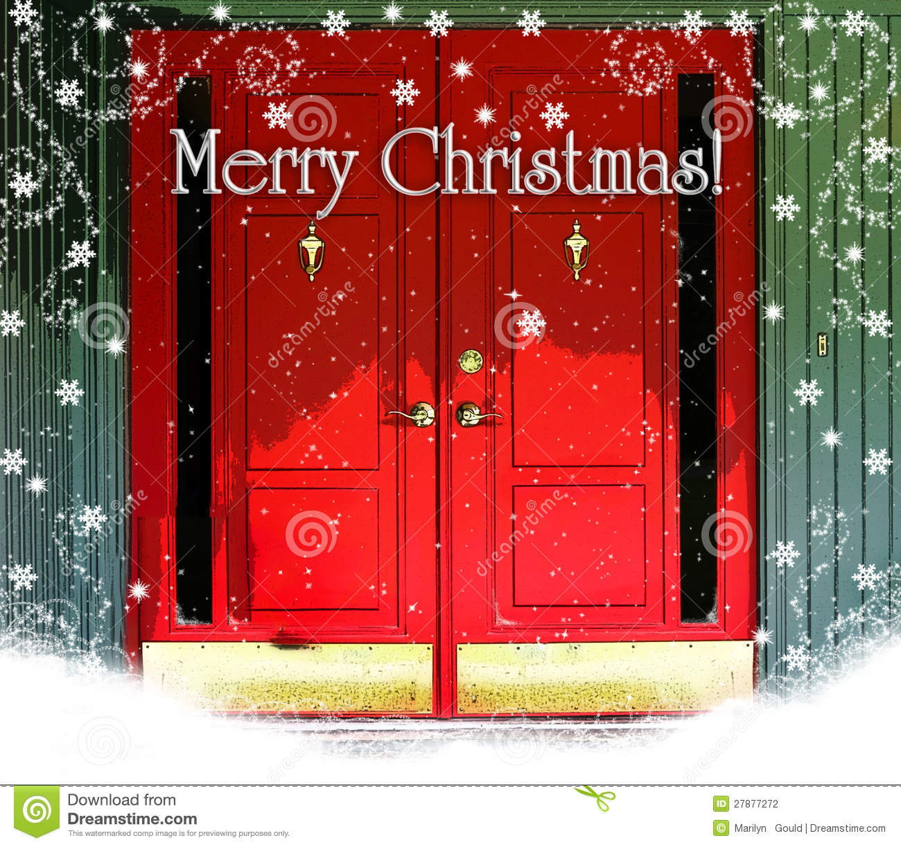 Red Doors Merry Christmas Stock Photo Image Of Snow 27877272