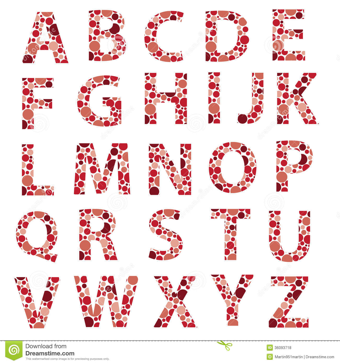 red dotted alphabet letters eps10