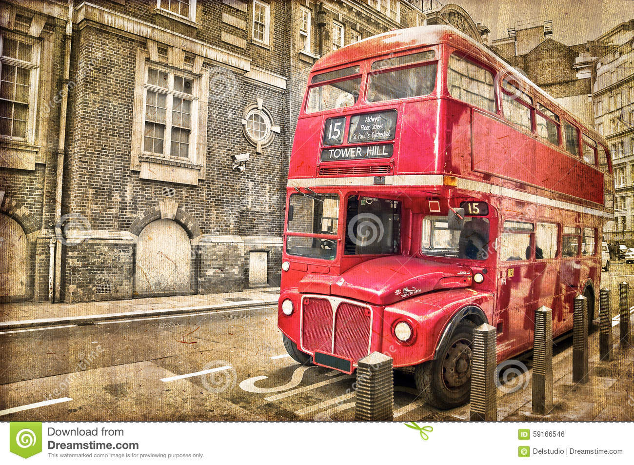 Red Double Decker Bus, Vintage Sepia Texture, London Stock ...