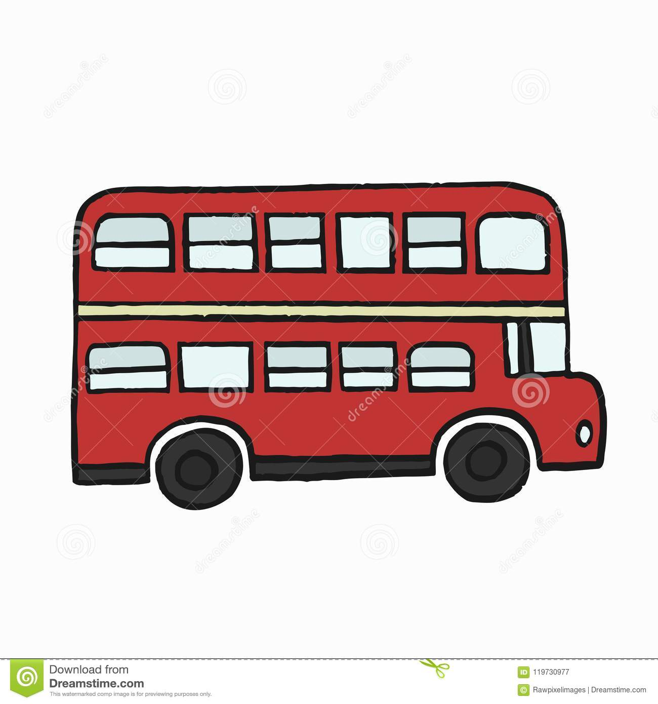 Red Double Decker London Bus Illustration Stock Illustration