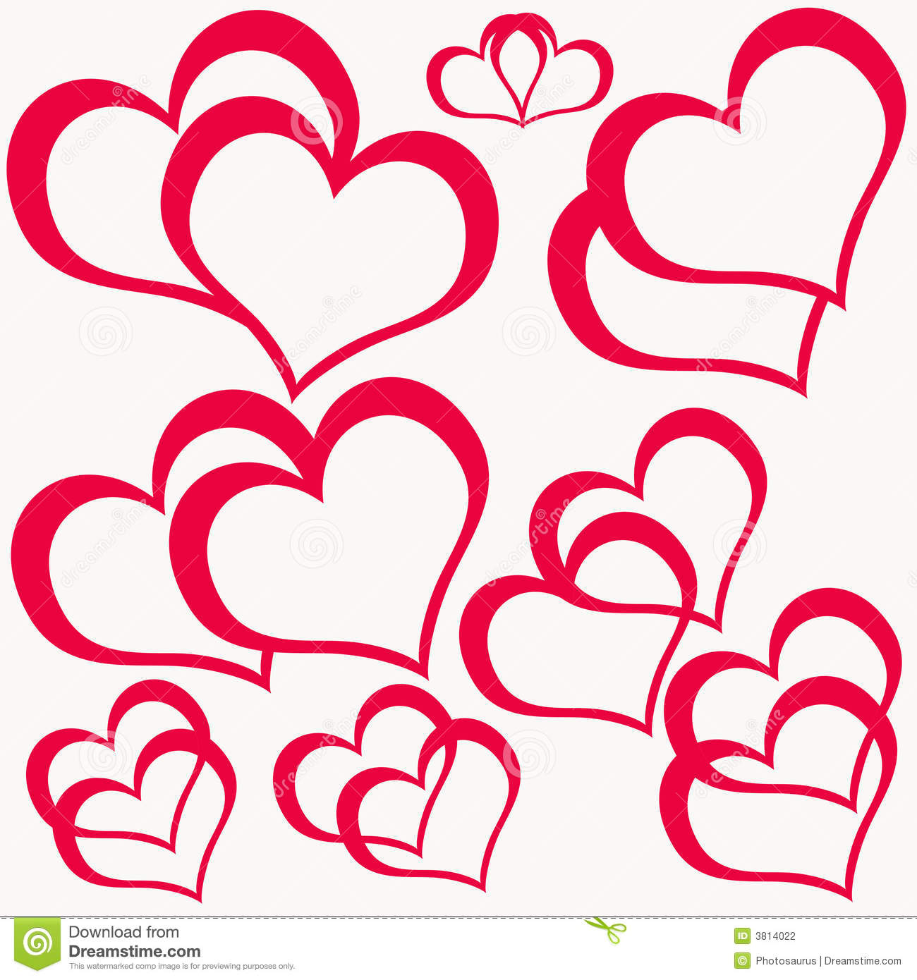 Red Double Hearts Stock Photography - Image: 3814022