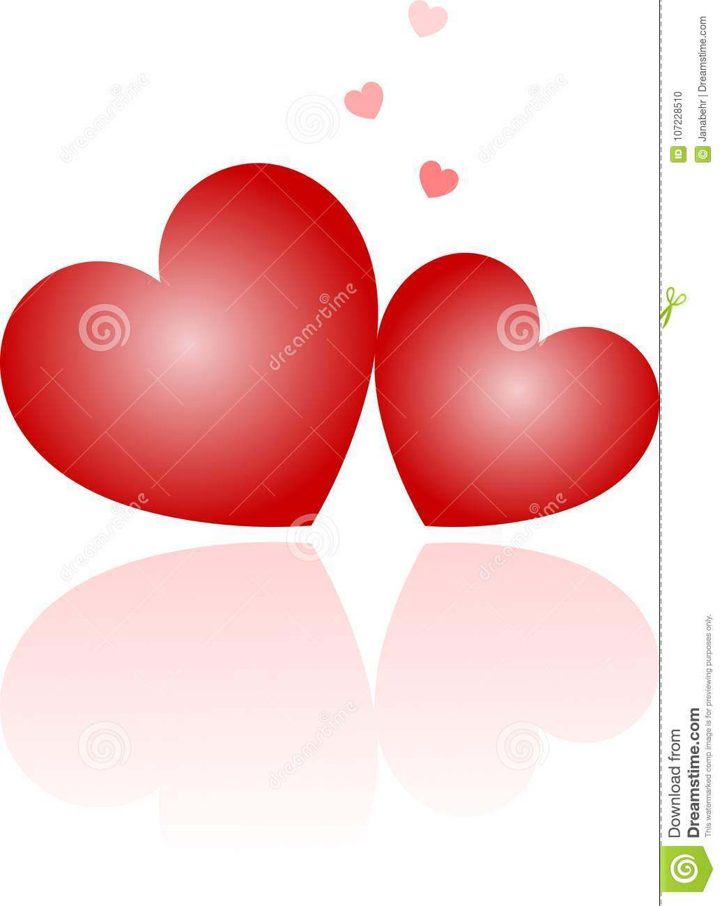 Red Double Hearts With Mirroring Stock Illustration Illustration