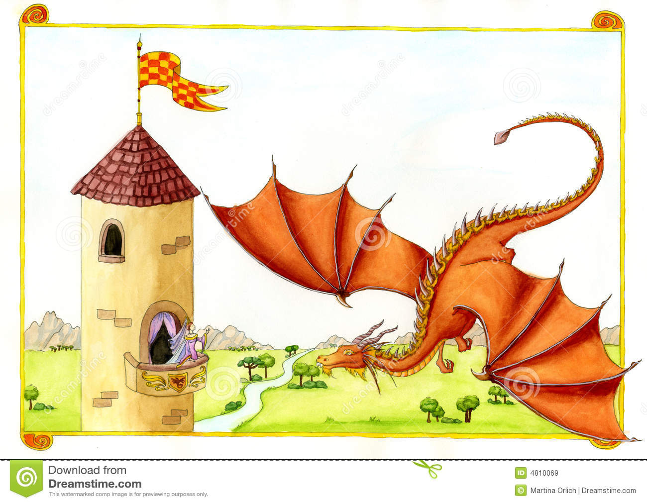 red dragon in front of castle stock illustration image