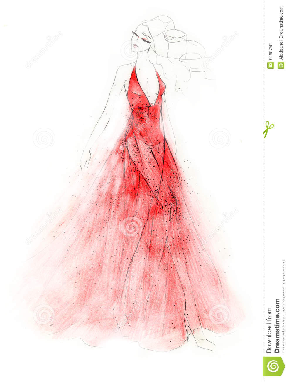 The Red Dress Fashion Illustration Royalty Free Stock