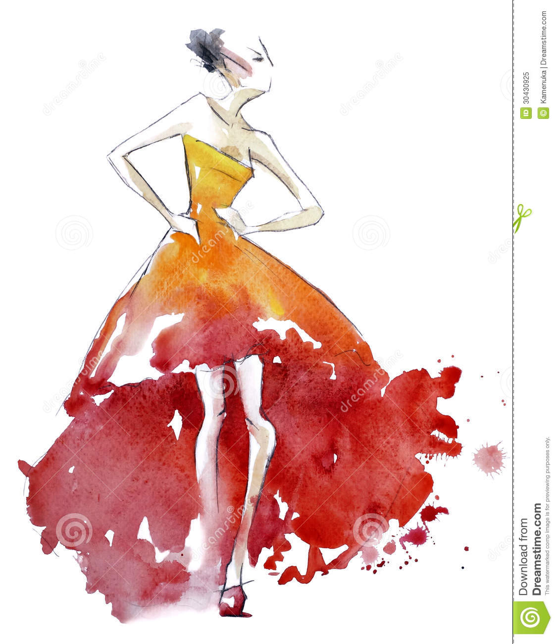 Red dress fashion illustration watercolor painting stock for Watercolor paintings of hands