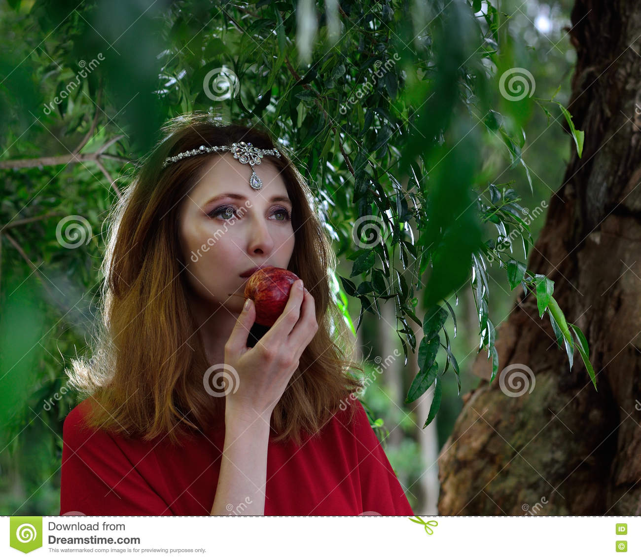 Red dress lady in Jungle