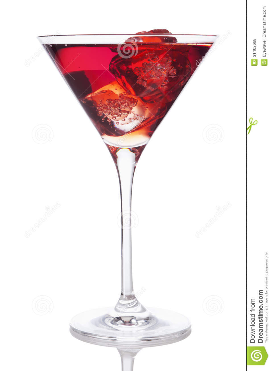 red drink in martini glass with ice cubes royalty free. Black Bedroom Furniture Sets. Home Design Ideas